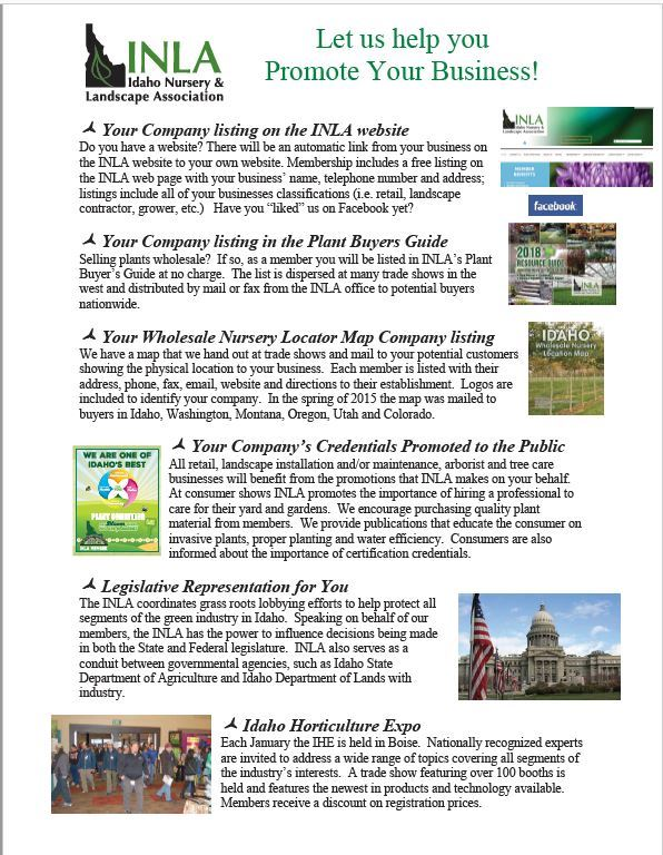 Idaho Nursery and Landscape Association - Benefits and Products